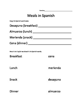 Meals of the Day in Spanish worksheet