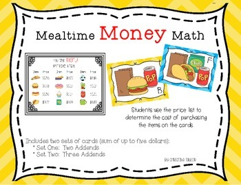 Mealtime Money Math - Money Sums Up to a Dollar