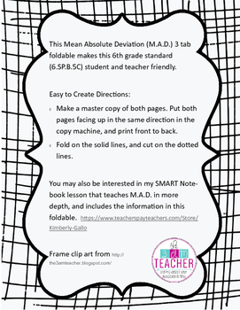 Mean Absolute Deviation 3 Tab Foldable