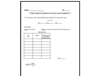 Mean Absolute Deviation Classwork Assignment