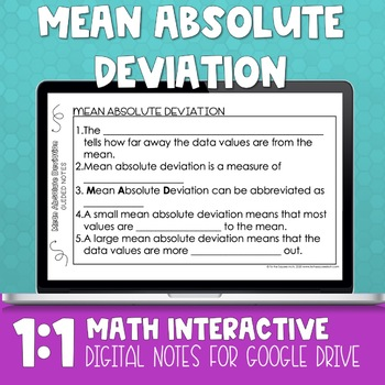 Mean Absolute Deviation Digital Interactive Math Notebook