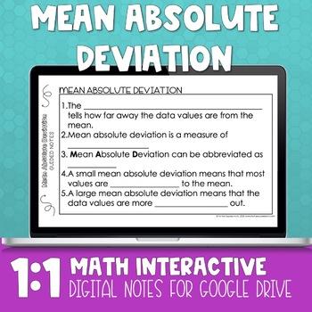 Mean Absolute Deviation Digital Interactive Math Notebook