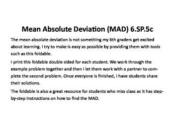 Mean Absolute Deviation Foldable 6.SP.5c
