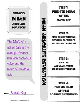 Mean Absolute Deviation Foldable Note-Taking Guide