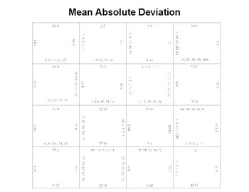 Mean Absolute Deviation MAD Fun square puzzle