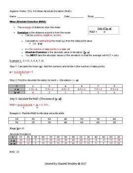 Mean Absolute Deviation (MAD) Notes