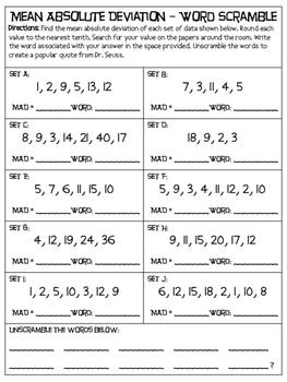 Mean Absolute Deviation (M.A.D) - Word Scramble Activity