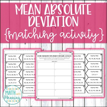 Mean Absolute Deviation Matching Activity - CCSS 6.SP.B.5.C