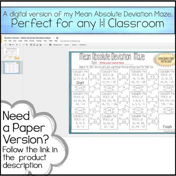 Mean Absolute Deviation Maze - Digital Version for 1:1 Classrooms