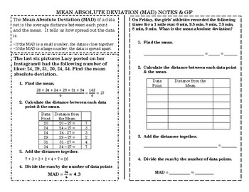Mean Absolute Deviation Notes & GP TEK 8.11B