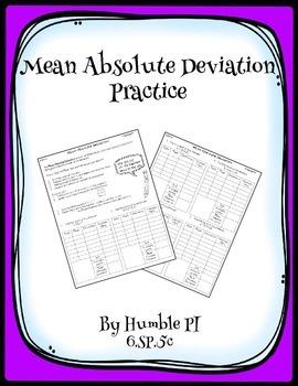 Mean Absolute Deviation Practice- 6.SP.5c