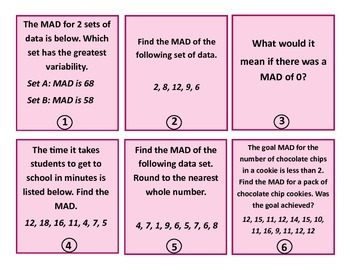 Mean Absolute Deviation Task Cards
