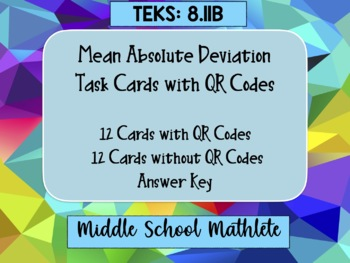 Mean Absolute Deviation Task Cards with QR Codes