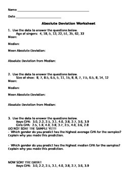 Mean Absolute Deviation Worksheet by Aunt B's Hive of Middle ...