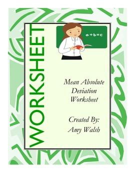 Mean Absolute Deviation Worksheet w/ Answer Key - Grade 6