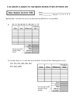 Mean Absolute Deviation Worksheets by Noelle Anderson | TpT
