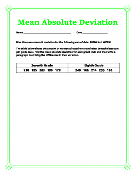 Mean Absolute Deviation w/ Answer Key