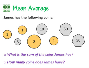 Mean Averages FULL Math lesson, worksheet & answers