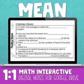 Mean Digital Math Notes