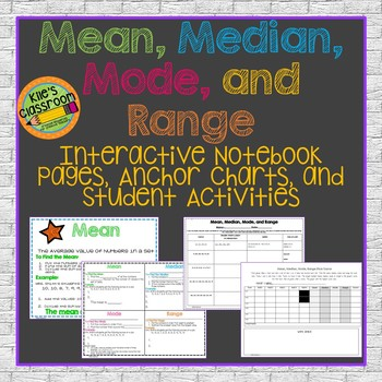 Mean Meadian Mode Range Interactive Notebook,  Posters, and Activity