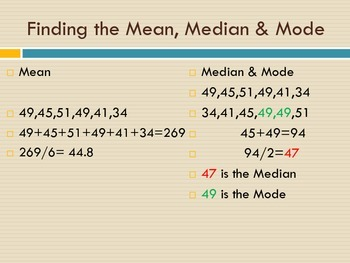 Mean Meadian and Mode: A Step by Step Presentation with Pratice Problems