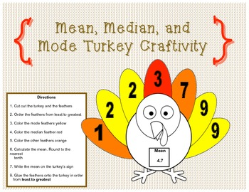Mean, Median, and Mode Turkey Craftivity