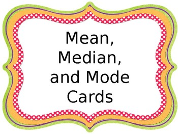 Mean, Median, Mode Cards