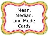 Mean, Median, Mode Cards