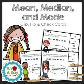 Mean, Median & Mode: Clip, Flip & Check Task Cards