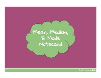 Mean, Median, & Mode Notecard