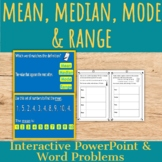 Mean, Median, Mode & Range: Word Problems and PowerPoint