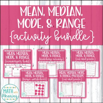 Mean, Median, Mode, & Range Activity Bundle