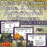 Halloween Math | Mean Median Mode Range Activity | Digital