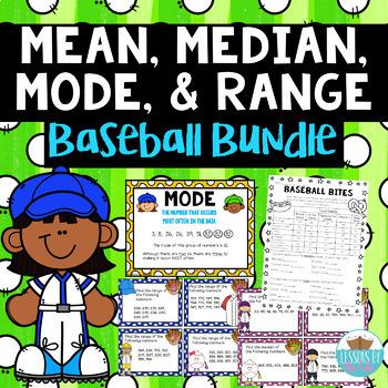 Mean, Median, Mode, Range *BASEBALL MEGA BUNDLE*