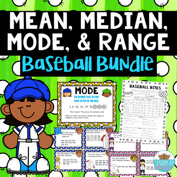 Mean, Median, Mode, Range *BASEBALL MEGA BUNDLE*