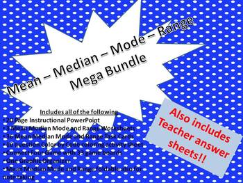 Mean Median Mode Range Bundle