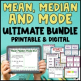 Mean, Median, Mode, Range Bundle Task Cards, Posters, Activity Mean Median Mode