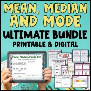 Mean, Median, Mode, Range Bundle Task Cards, Posters, Activity Mean Median Mode