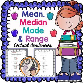 Mean Median Mode Range Central Tendencies Practice Worksheet