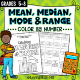 Mean, Median, Mode & Range Color By Number Activity