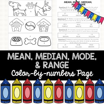 Mean, Median, Mode, & Range: Color-By-Numbers Activity | TpT