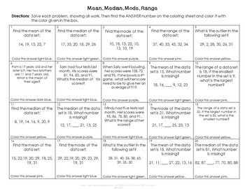 Mean, Median, Mode & Range Color by Number by Middle School Math ...