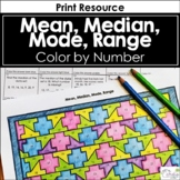 Mean, Median, Mode & Range Color by Number