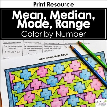 Mean Median Mode Range Color By Number Tpt