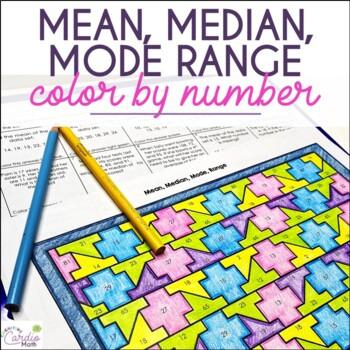 Mean, Median, Mode & Range Color by Number