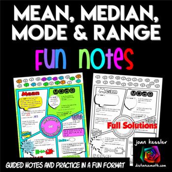 Mean Median Mode Range Comic Book FUN Notes