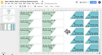 Mean, Median, Mode, & Range DIGITAL Matching Activity for Google Drive™