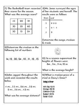 Mean Median Mode Range/Differentiated task cards