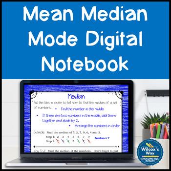 Mean Median Mode Range Digital Notebook