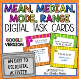 Mean, Median, Mode, Range - Digital Task Cards Google Version
